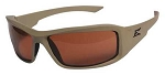 Edge Eyewear Hamel Thin Temple Glasses, Matte Sand Frame/Polarized Copper Lens